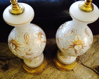 Pair of Vintage, Antique White with Gold Etching, Floral Czech Frosted Glass Lamp(s) Excellent Condition