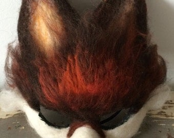 Fox Mask OOAK handmade to order Woodland Art Masks, animal masks, festival headdress, facemask, animal characters, folk art, fox mask