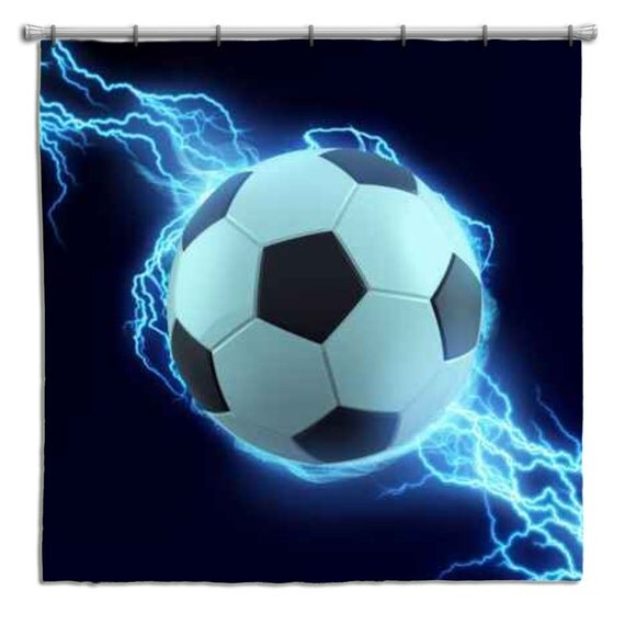 Attractive Soccer Shower Curtain With Soccer Ball And Lightning Bolt From Extremely  Stoked