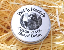 Lumberjack beard balm. Rich and creamy beard care balm with a light sandalwood scent for beard hydration, taming, maintenance and grooming