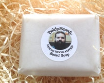 Bar soap for beards - Sandalwood Amyris - cleanses, moisturises. Natural man soap, detergent free, maintains skin's natural oils, beard itch