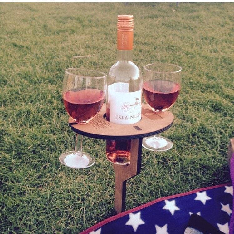 wine glass picnic table by advancelaser on etsy. Black Bedroom Furniture Sets. Home Design Ideas