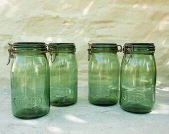 French Vintage Kitchen Green Glass Storage Jar, Solidex