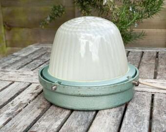 Quality Vintage Industrial Holophane Bulkhead Lamp