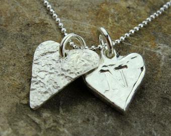 Personalised Solid Silver Hammered Heart Charm Necklace