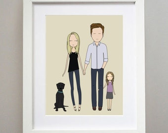 RUSH FEE- Custom Portrait, Family portrait, couple drawing, anniversary, gift, Illustration, brides maids gift