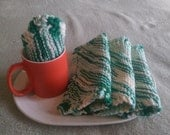 Cotton Knit Dishcloths Washcloths Trivet(s) Dish Rag Hot Pads SET OF 4 in Variegated Green