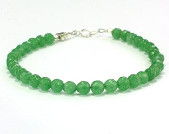 Aventurine bracelet; Green bracelet; Gift for her; BFF bracelet; Green beaded bracelet; Friendship bracelet; Sterling silver clasp
