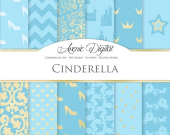 Cinderella Digital Paper. Scrapbooking Backgrounds, Princess Gold and blue patterns for party and invitation. Commercial Use, Download