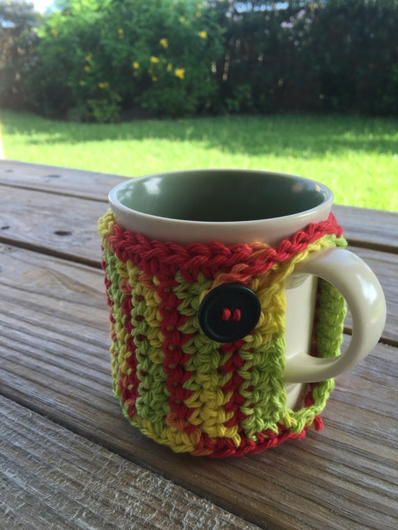 Handmade Crochet Coffee Mug Cozy in Tropical Cotton by TheHookster