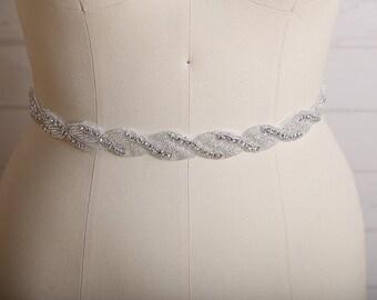 Beaded Bridal Belts and Sashes, Rhinestone Wedding Sashes and Belts, Swarovski Crystal Bridal Sash Champagne, Thin Bridal Belt, / B207