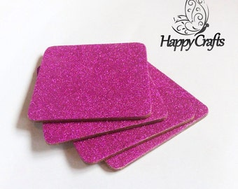 Glitter Drinks Coasters Set of 4 Hot Pink