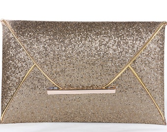 Gold wedding clutch, Bridal clutch, Champagne clutch, evening bag, Modern bridesmaid bag, crystal clutch19