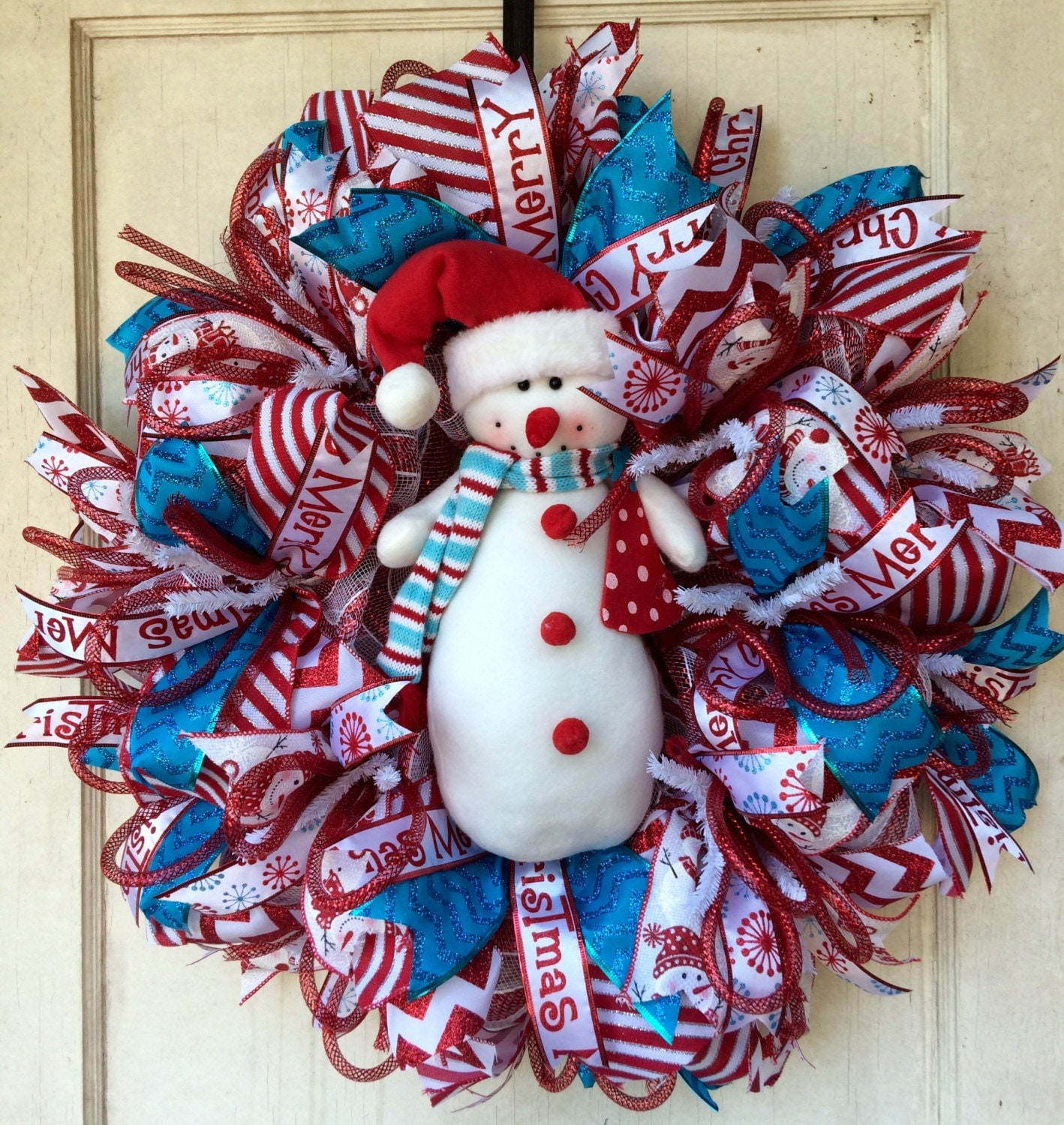 Deco mesh christmas wreath red white and blue turquoise for Deco decorations
