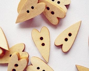 12pcs--Heart Wooden Buttons,  (B31-2)