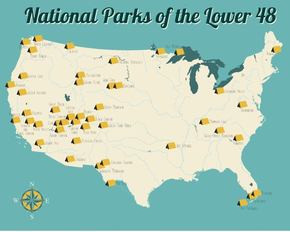National Park Map Map Of National Parks US Map United - National parks on us map