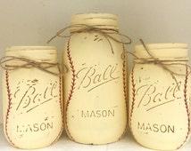Baseball Painted Mason Jars - Set of THREE - Baby Boy Nursery - Baseball Nursery - Baby Boy Shower Centerpiece - Sports Theme Birthday Decor