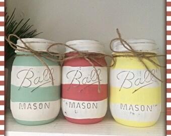 Stripe Painted Mason Jar Set, Pint Ball Mason Jars, Set of THREE, Striped Jars, Mint, Yellow, Coral, White, Flower Vases, Office Decor, Jars