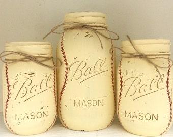 Vintage Baseball Painted Mason Jars - Set of 3 - Baby Boy Nursery-Baseball Nursery-Baby Boy Shower Centerpiece - Sports Theme Birthday Decor