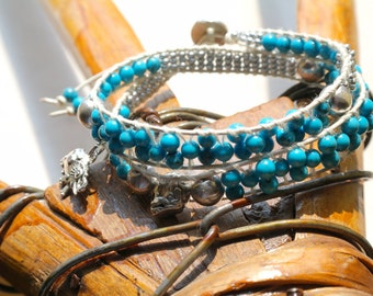 Turquoise Leather Wrap Bracelet Boho Chic Bracelet Boho Double Wrap Bracelet Bohemian Jewelry Beaded Wrap Bracelet