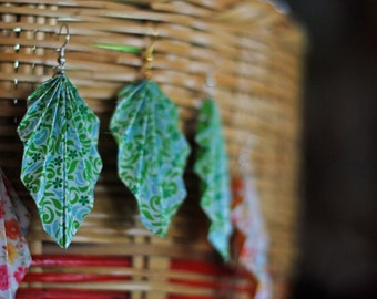 Origami Earrings - Dangling Origami fan earrings in floral or check with silver plate or gold hooks