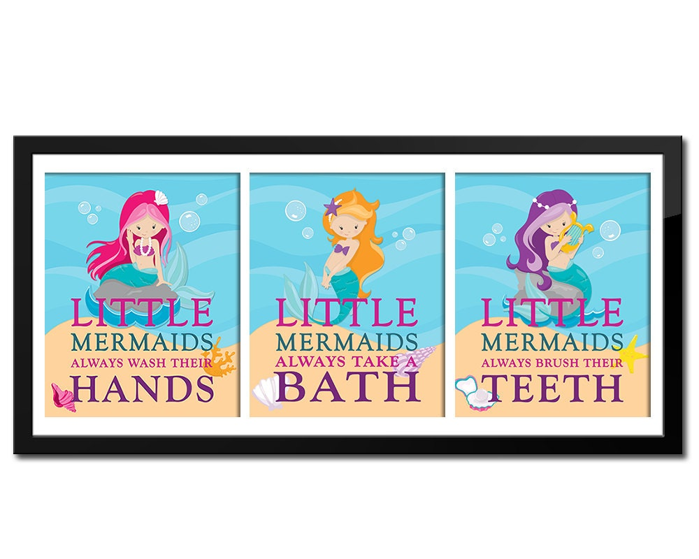 Set Of Little Mermaid Bathroom Rules, Girlu0027s Bathroom Decor, Bathroom Decor