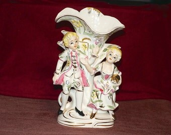 Vintage Porcelain Figural Vase Man Woman  Waving Floral Colonial Clothing