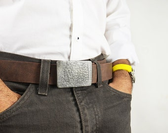 Damascus Belt Buckle and Leather Belt