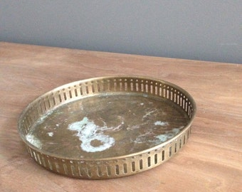 Petite vintage brass serving tray
