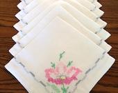 Hand Embroidered Linen Napkins Set of 8