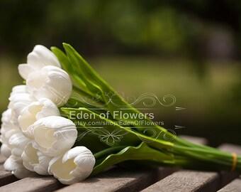 6 Pcs Stem Real Touch PU White Tulip, Artificial Silk White Tulip, Bridal Bouquet, Bridesmaid Bouquet