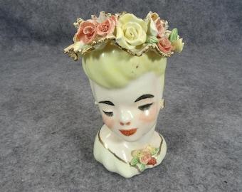 Lady Head Vase Adorned in Floral Hat