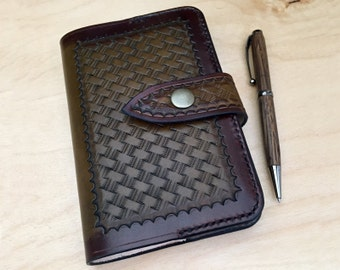 Moleskine Leather Notebook Cover, hand tooled, basketweave, mahogany/brown