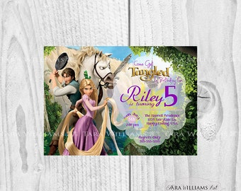 Tangled Birthday Invitation-Rapunzel-Flynn-Purple and Pink-Girl-Printable-Custom-You Print-Birthday Party Invitation