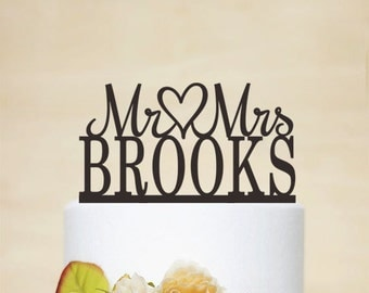Mr & Mrs Cake Topper With Last Name,Wedding Cake Topper,Custom Cake Topper,Surname Cake Topper,Bride And Groom - C051