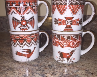 Set of 4 Aztec/Southwest motif vintage stoneware mugs, made in Japan