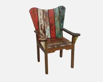 Reclaimed Recycled Boat Teak Wood Deck Chair /  Patio Chair / Outdoor Chair