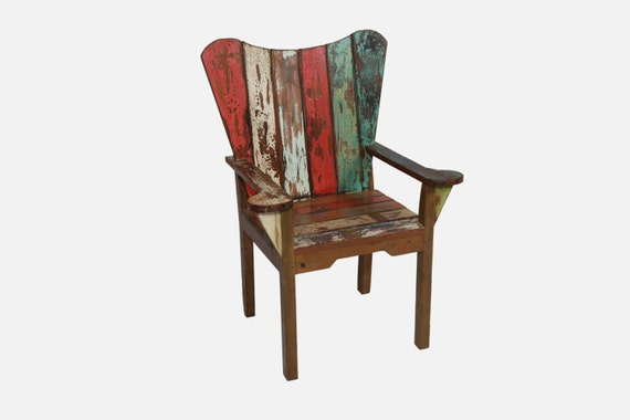 Reclaimed Recycled Boat Teak Wood Deck Chair by