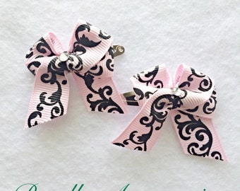 Pink Brown Baby Hair Bows with Clips, Easter Girls Toddlers Baby Hair Bows, Pink Tails Down Hair Bows