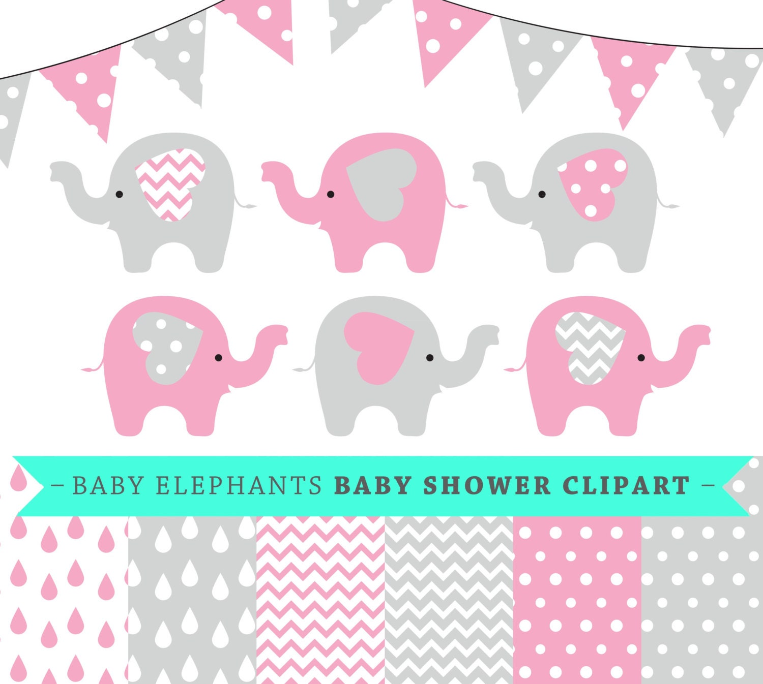 premium baby shower vector clipart baby elephants pink and