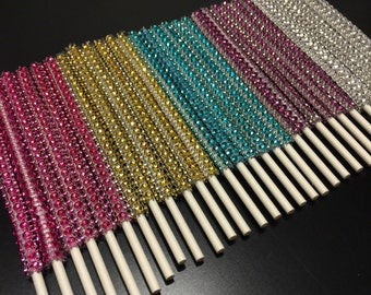 Bling sticks - 1 dozen - rhinestone, cakepops, sticks, gold, silver