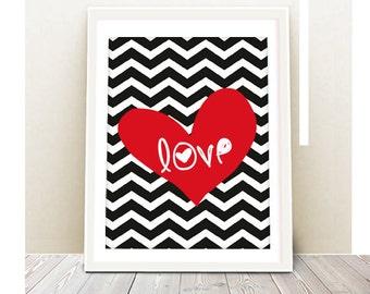 Love Art Print - INSTANT DOWNLOAD - Printable Poster, Heart print, art print, Love wall art, wall decor, art print, digital file, printable