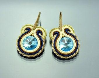 Small Beige Soutache Earrings , Dangle Earrings, Creamy Navy Blue Earrings, Gold Dangle Earrings, Small Dangle Earrings, Soutache Earrings
