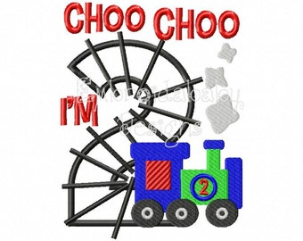 Choo Choo I'm 2 Two Train 2nd Birthday 5x7 Machine Applique Embroidery Design, Birthday Party Hat, Baby Birthday Outfit Embroidery