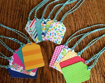 Summer gift tags, paper gift tags, colorful gift tags, wedding favor tags, party favor tags, paper tags, hand punched tags