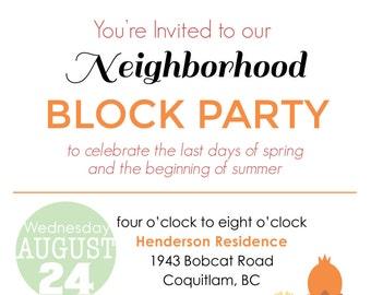 Summer Block Party / Backyard BBQ Invitation - Digital File - Printable Invitation