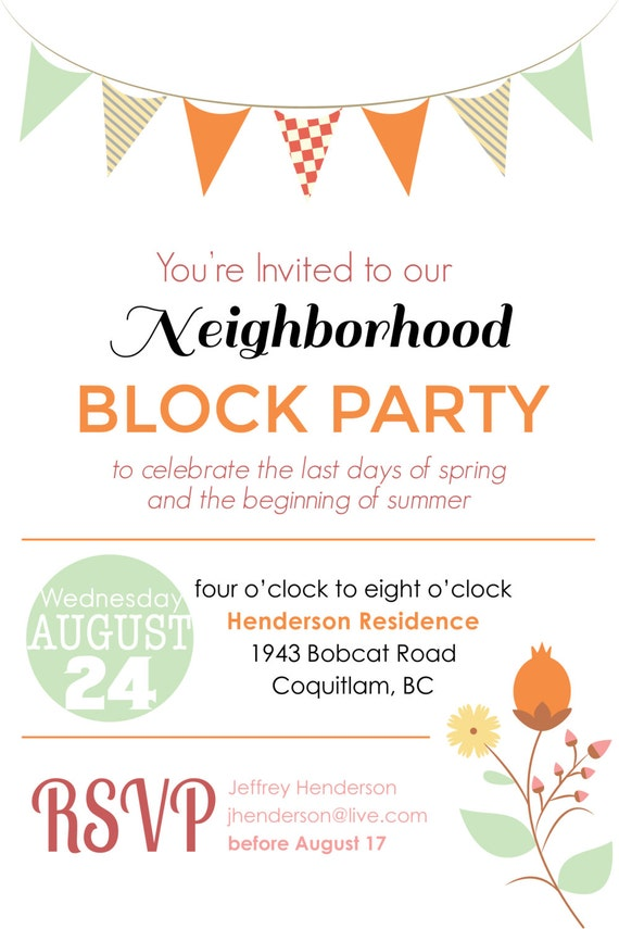 items similar to summer block party / backyard bbq invitation, Party invitations
