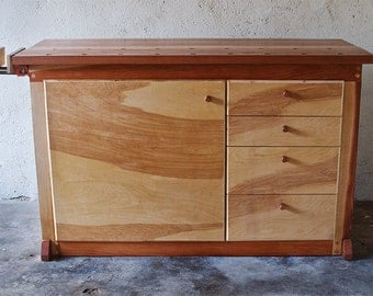 High-end woodworking bench for those concerned with the style and functionality of the most used tool in the shop