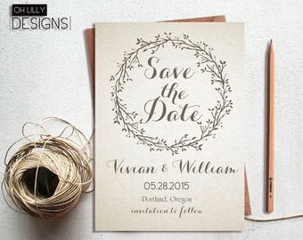 Rustic Save the Date Printable, Save the Date Invitation, Vintage Save the Date, Minimalist Save the Date, Printable Save the Date