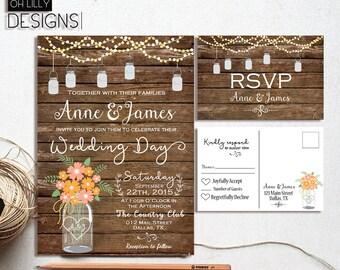 Rustic Wedding Invitation Printable, Fall Wedding Invitation, Country Wedding Invitation, Mason Jar Wedding, Autumn Wedding Invitation